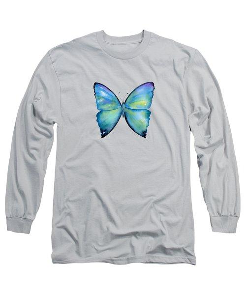 2 Morpho Aega Butterfly Long Sleeve T-Shirt by Amy Kirkpatrick