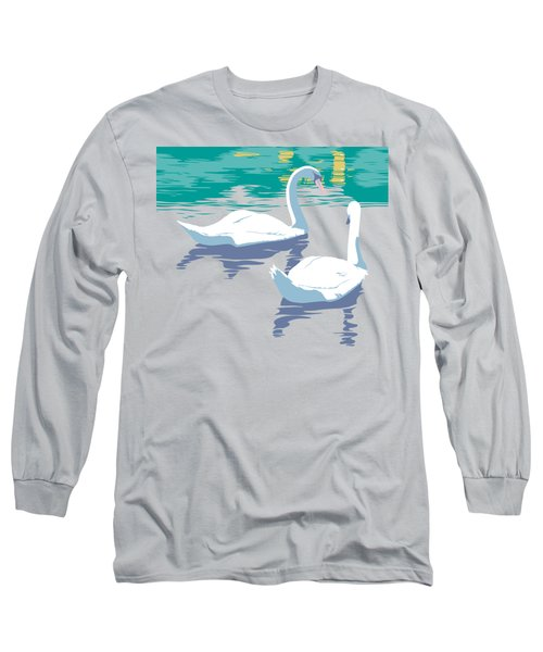 Abstract Swans Bird Lake Pop Art Nouveau Retro 80s 1980s Landscape Stylized Large Painting  Long Sleeve T-Shirt by Walt Curlee