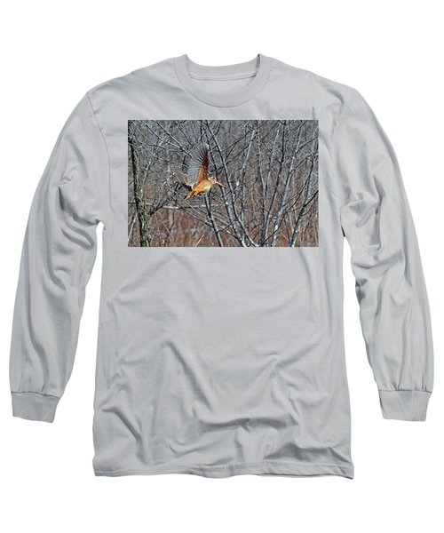 American Woodcock In Takeoff Flight Long Sleeve T-Shirt by Asbed Iskedjian