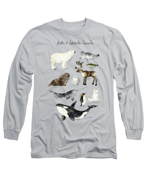 Arctic And Antarctic Animals Long Sleeve T-Shirt by Amy Hamilton