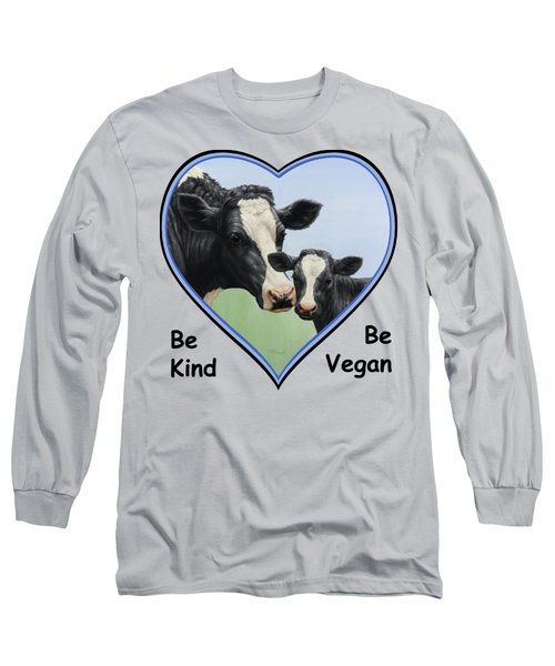 Holstein Cow And Calf Blue Heart Vegan Long Sleeve T-Shirt by Crista Forest