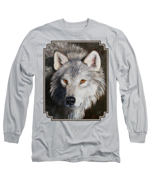 Wolf Portrait Long Sleeve T-Shirt by Crista Forest
