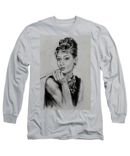 Audrey Hepburn Long Sleeve T-Shirt by Ylli Haruni