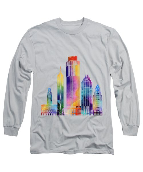Austin Landmarks Watercolor Poster Long Sleeve T-Shirt by Pablo Romero