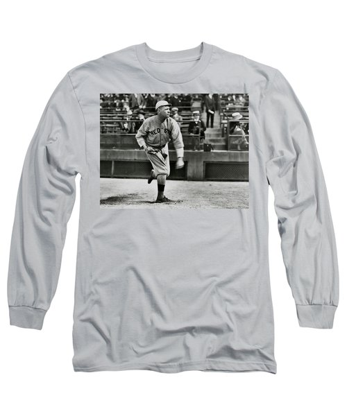 Babe Ruth - Pitcher Boston Red Sox  1915 Long Sleeve T-Shirt by Daniel Hagerman