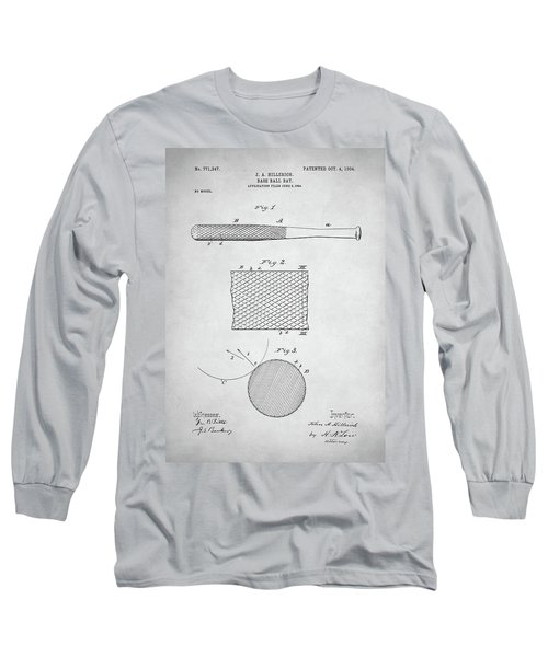 Baseball Bat Patent Long Sleeve T-Shirt by Taylan Soyturk