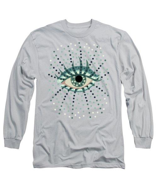 Beautiful Abstract Dotted Blue Eye Long Sleeve T-Shirt by Boriana Giormova