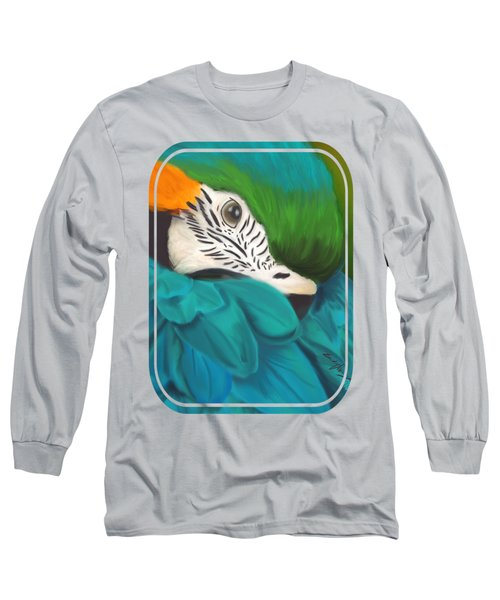 Blue And Gold Macaw Long Sleeve T-Shirt by Becky Herrera