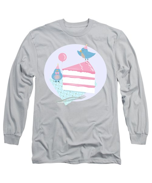 Bluebirds Love Birthday Cake Long Sleeve T-Shirt by Little Bunny Sunshine