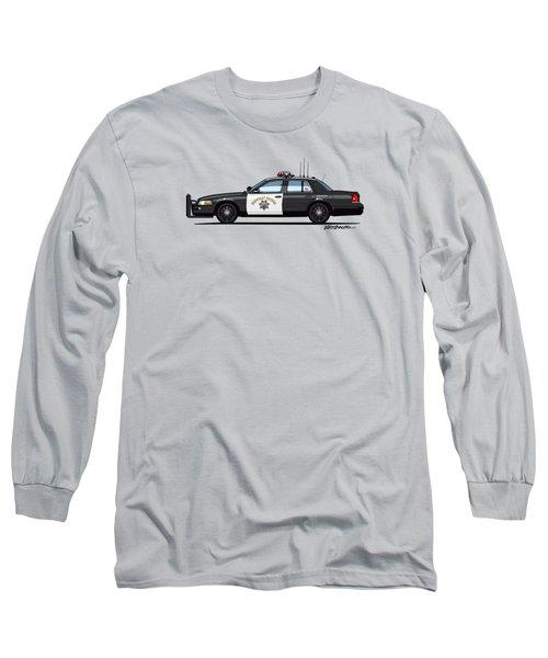 California Highway Patrol Ford Crown Victoria Police Interceptor Long Sleeve T-Shirt by Monkey Crisis On Mars
