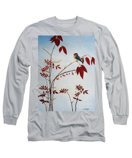 Cedar Waxwing Long Sleeve T-Shirt by Laura Tasheiko