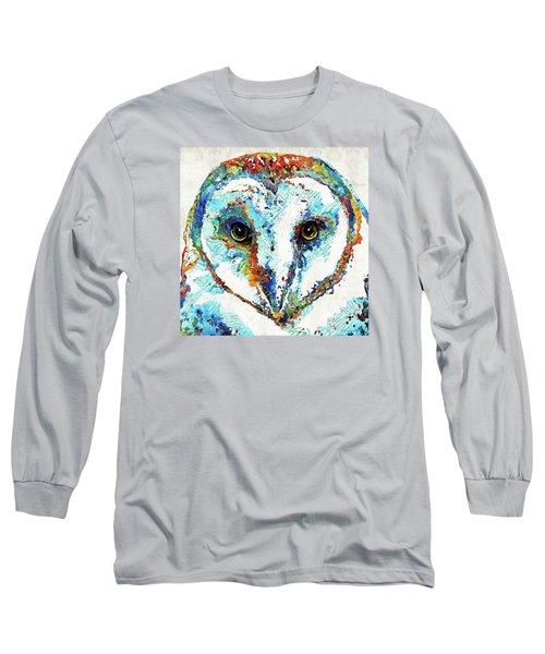 Colorful Barn Owl Art - Sharon Cummings Long Sleeve T-Shirt by Sharon Cummings