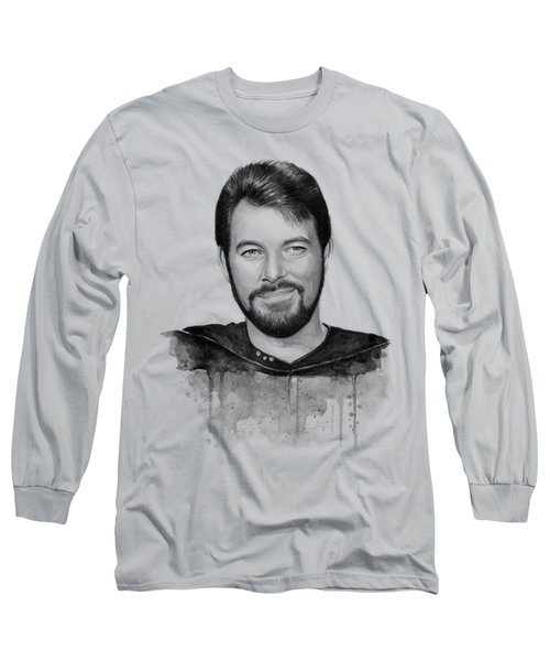 Commander William Riker Star Trek Long Sleeve T-Shirt by Olga Shvartsur