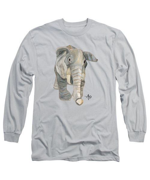 Cuddly Elephant Long Sleeve T-Shirt by Angeles M Pomata