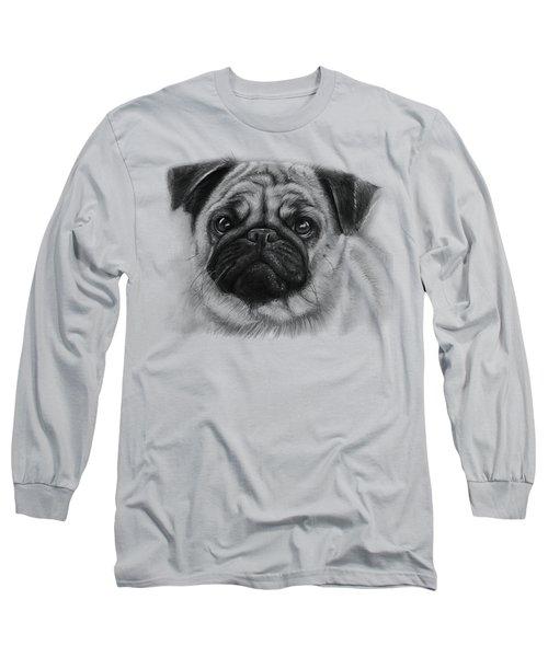 Cute Pug Long Sleeve T-Shirt by Olga Shvartsur