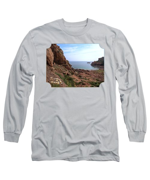 Daisies In The Granite Rocks At Corbiere Long Sleeve T-Shirt by Gill Billington