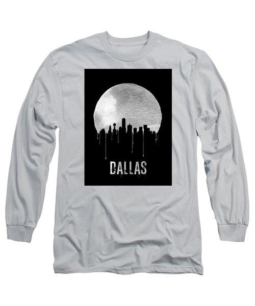 Dallas Skyline Black Long Sleeve T-Shirt by Naxart Studio