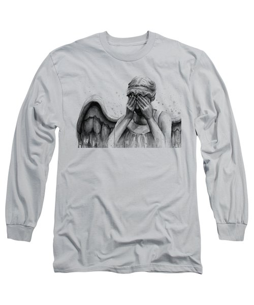 Doctor Who Weeping Angel Don't Blink Long Sleeve T-Shirt by Olga Shvartsur