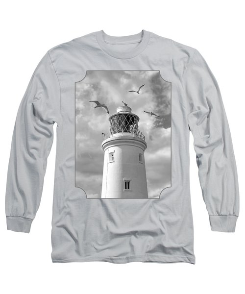 Fly Past - Seagulls Round Southwold Lighthouse In Black And White Long Sleeve T-Shirt by Gill Billington