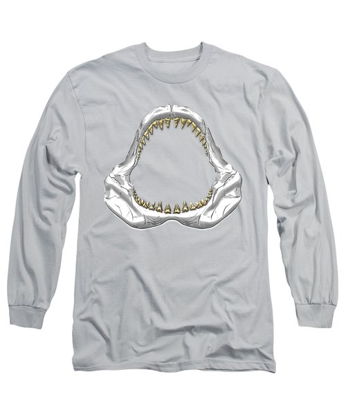 Great White Shark - Silver Jaws With Gold Teeth On White Canvas Long Sleeve T-Shirt by Serge Averbukh