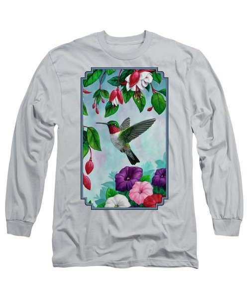 Hummingbird Greeting Card 1 Long Sleeve T-Shirt by Crista Forest