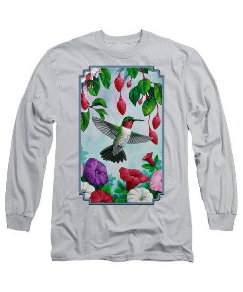 Hummingbird Greeting Card 2 Long Sleeve T-Shirt by Crista Forest