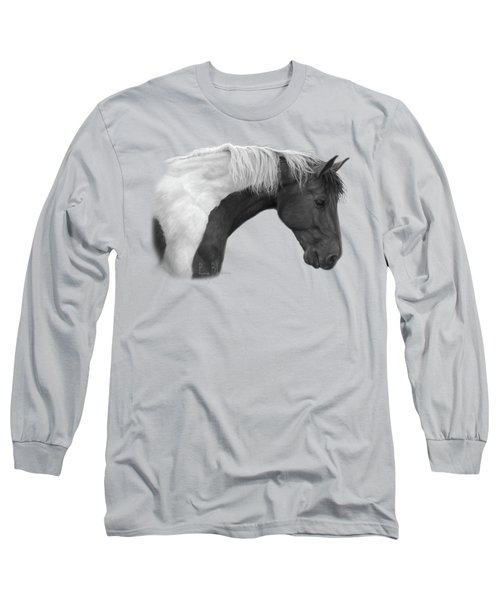 Intrigued - Black And White Long Sleeve T-Shirt by Lucie Bilodeau