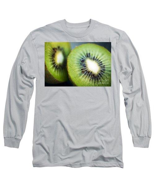 Kiwi Fruit Halves Long Sleeve T-Shirt by Ray Laskowitz - Printscapes
