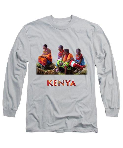 Maasai Women Long Sleeve T-Shirt by Anthony Mwangi