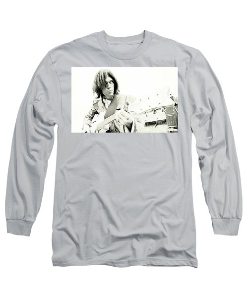 Neil Young Watercolor Long Sleeve T-Shirt by John Malone