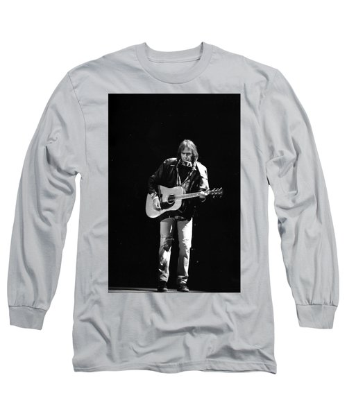 Neil Young Long Sleeve T-Shirt by Wayne Doyle