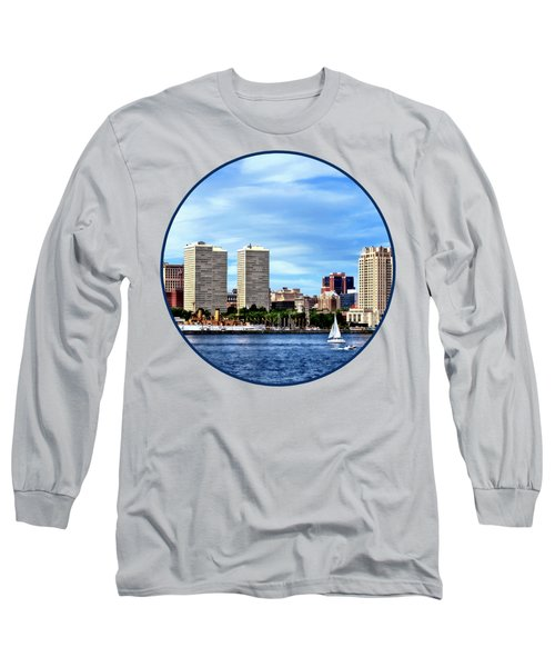 Philadelphia Pa Skyline Long Sleeve T-Shirt by Susan Savad