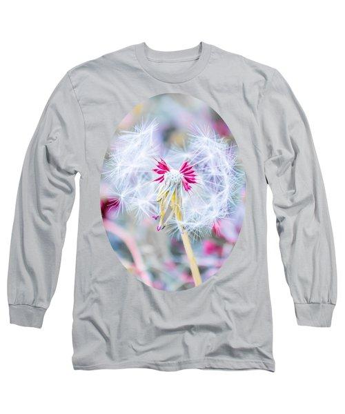 Pink Dandelion Long Sleeve T-Shirt by Parker Cunningham