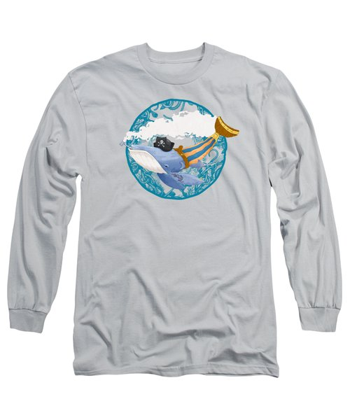 Pirate Whale Long Sleeve T-Shirt by David Perez