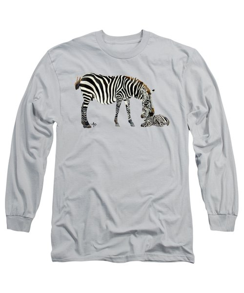 Plains Zebras Long Sleeve T-Shirt by Angeles M Pomata