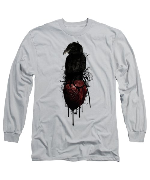 Raven And Heart Grenade Long Sleeve T-Shirt by Nicklas Gustafsson