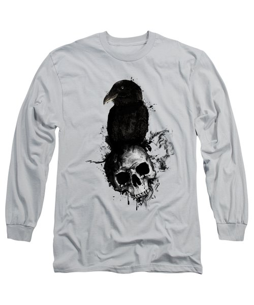 Raven And Skull Long Sleeve T-Shirt by Nicklas Gustafsson
