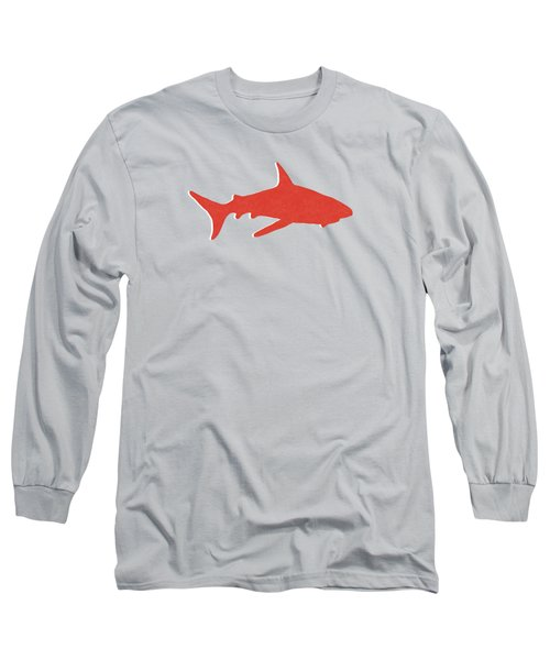 Red Shark Long Sleeve T-Shirt by Linda Woods
