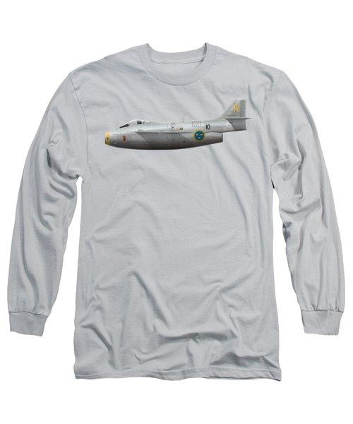 Saab J 29a Tunnan - 29670 - Side Profile View Long Sleeve T-Shirt by Ed Jackson