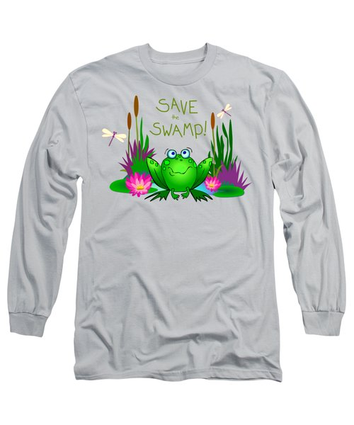 Save The Swamp Twitchy The Frog Long Sleeve T-Shirt by M Sylvia Chaume