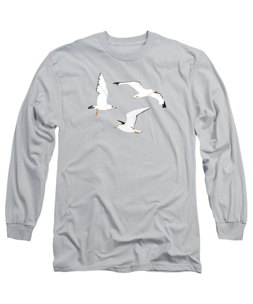 Seagulls Gathering At The Cricket Long Sleeve T-Shirt by Elizabeth Tuck
