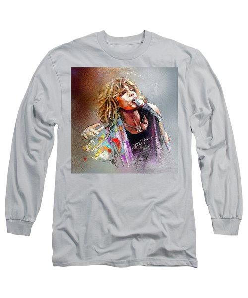 Steven Tyler 02  Aerosmith Long Sleeve T-Shirt by Miki De Goodaboom
