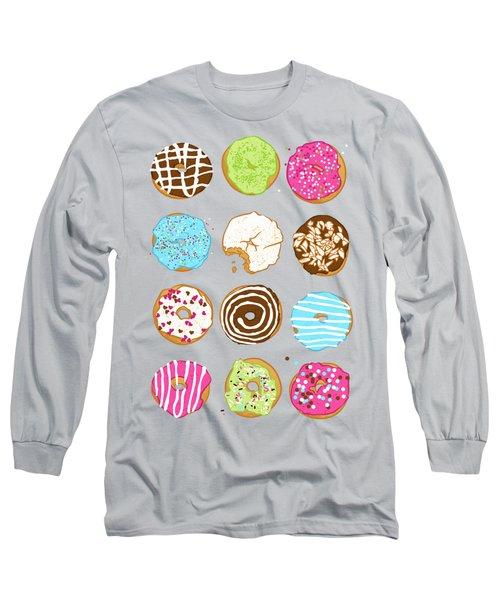 Sweet Donuts Long Sleeve T-Shirt by Evgenia Chuvardina