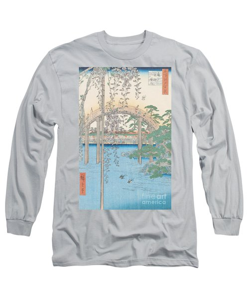 The Bridge With Wisteria Long Sleeve T-Shirt by Hiroshige