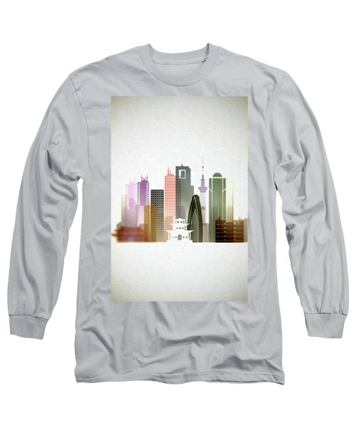 Tokyo  Cityscape Long Sleeve T-Shirt by Dim Dom
