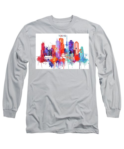 Tokyo Watercolor Long Sleeve T-Shirt by Dim Dom