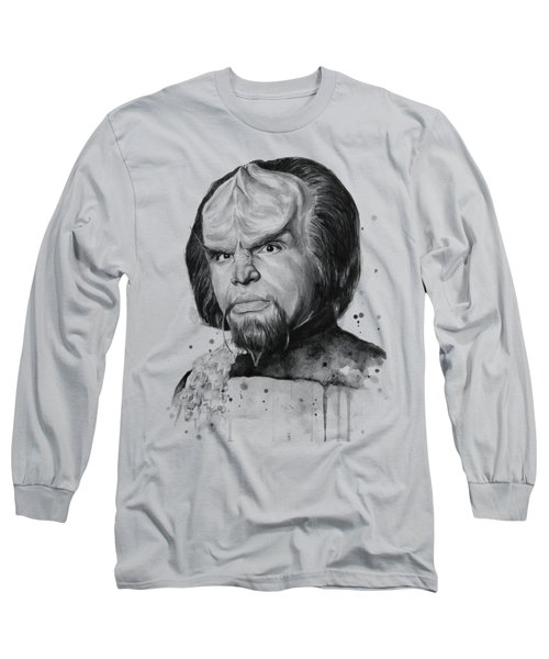 Worf Portrait Watercolor Star Trek Art Long Sleeve T-Shirt by Olga Shvartsur