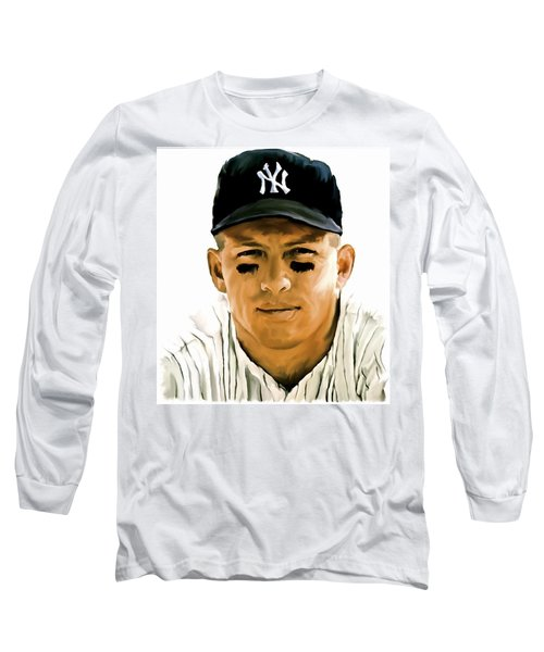 American Icon Mickey Mantle Long Sleeve T-Shirt by Iconic Images Art Gallery David Pucciarelli