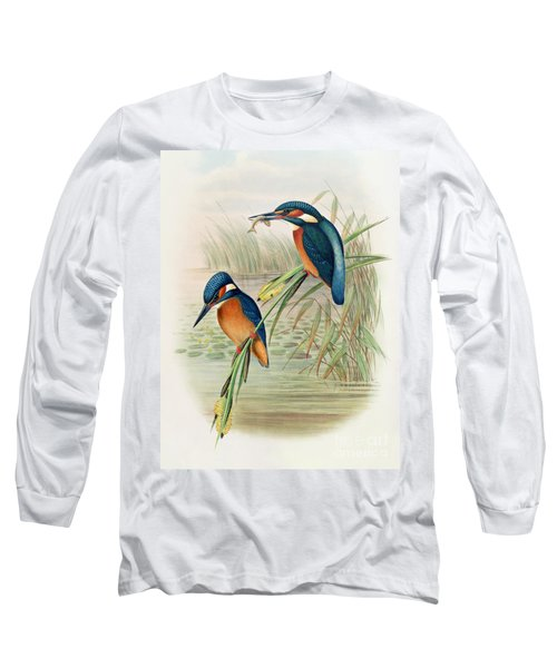 Alcedo Ispida Plate From The Birds Of Great Britain By John Gould Long Sleeve T-Shirt by John Gould William Hart