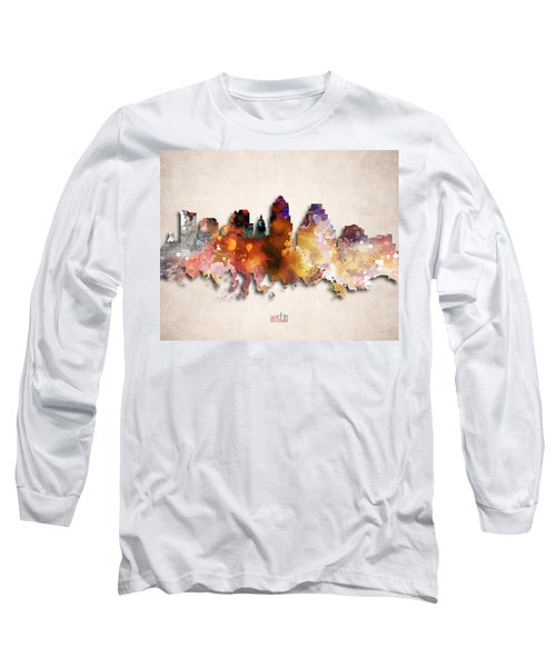 Austin Painted City Skyline Long Sleeve T-Shirt by World Art Prints And Designs